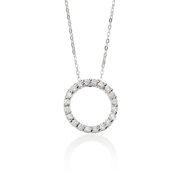 Sterling Silver 45Cm Cubic Zirconia Set Open Circle Necklet