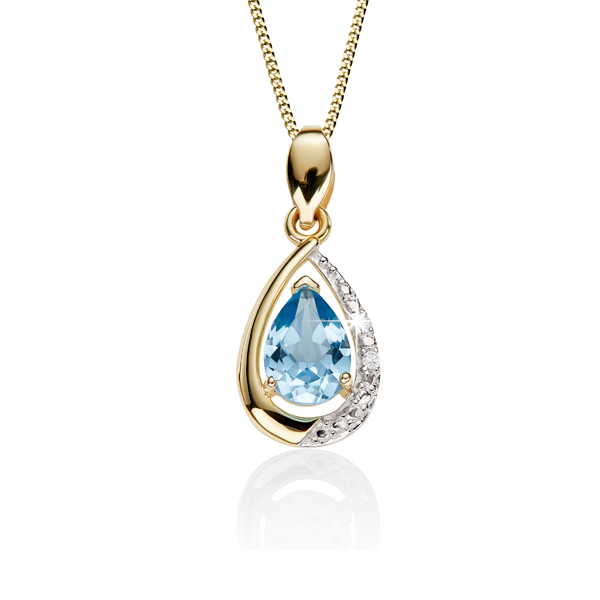 9ct Yellow Gold Claw Set Pear Shaped Blue Topaz & Pave Diamond Pendant