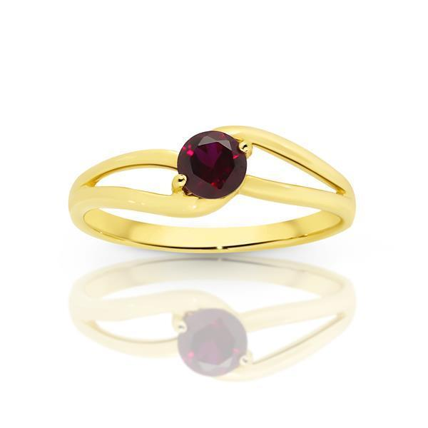 Gold Claw-Set Created Ruby Split Shank Ring