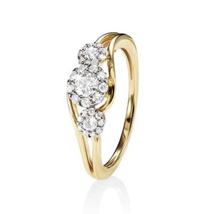 9ct Yellow Gold 0.40ct (Tlb P1-2) Split Shank Diamond Cluster Trilogy Ring