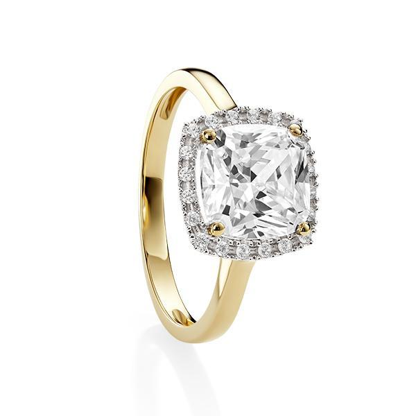 9ct Yellow Gold 4 Claw Cushion Shape Cubic Zirconia Halo Ring
