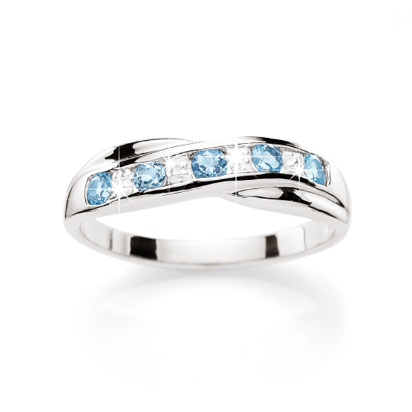 Sterling Silver Blue Topaz & Diamond Cross Over Ring