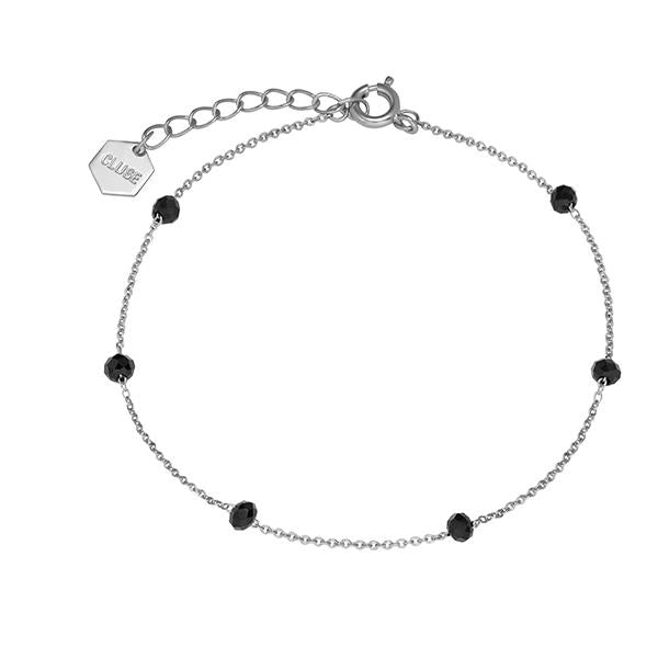 CLUSE Essentielle Silver Black Crystals Chain Bracelet