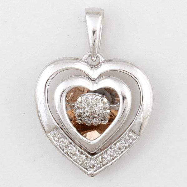 Dancing Diamonds 9ct White & Rose Gold Heart Pendant