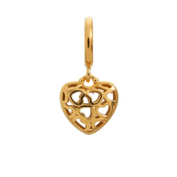 Endless Heart Beat Love Gold Charm