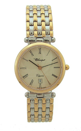LADIES 2TONE ST/STEEL SWISS QUARTZ B'LET