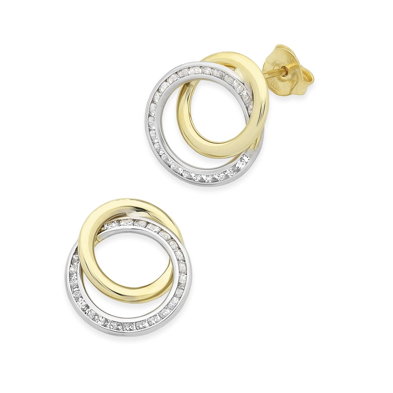 9ct Gold 2-Tone Cubic Zirconia Double Ring Earrings