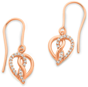 9ct Rose Gold Infinity Heart Cubic Zirconia Earrings