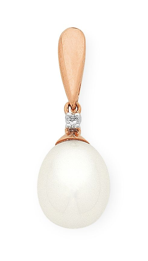 9ct Rose Gold Freshwater Pearl & Diamond Pendant With Complimentary Chain