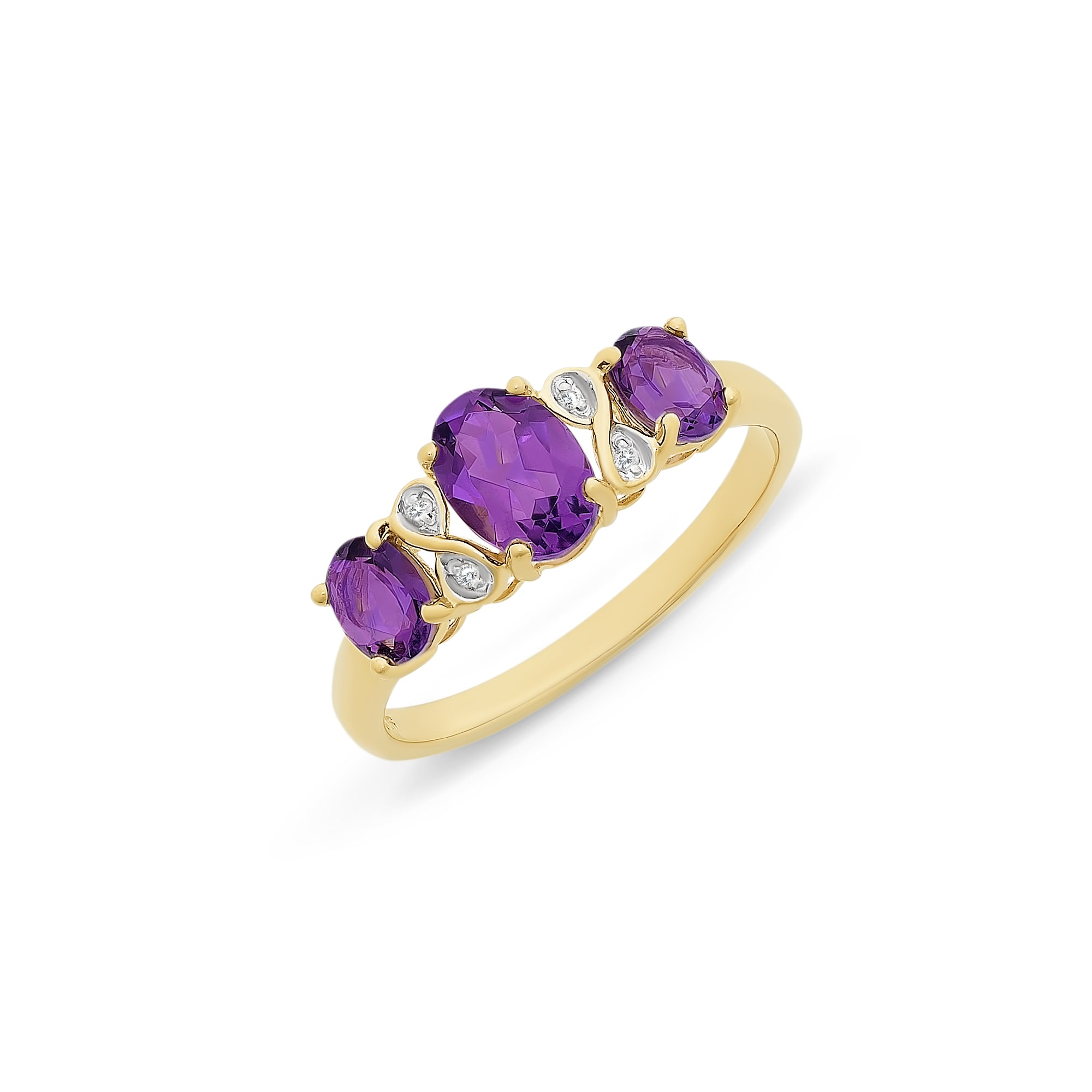 9ct Gold Amethyst And Diamond