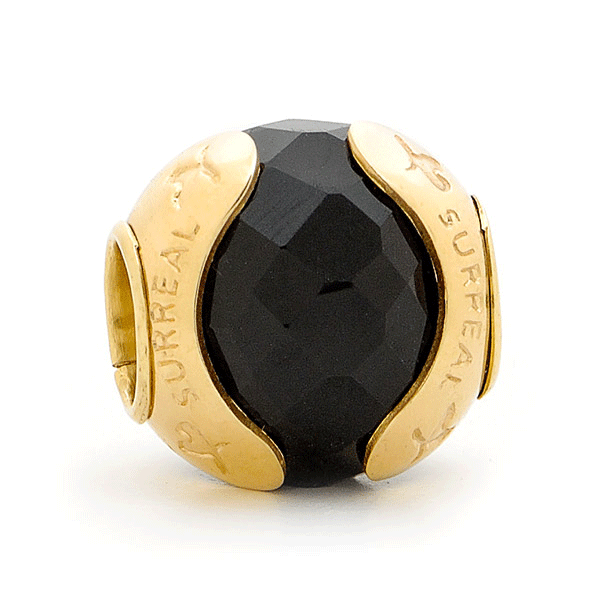 SURREAL 9ct Gold Black Onyx Faceted In Otoman Bead