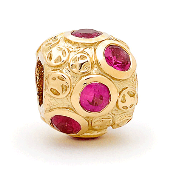 SURREAL 9ct Gold Gem Stone Cubic Zirconia Ruby *8 Bead