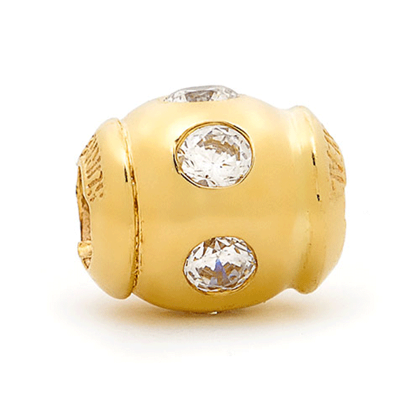 SURREAL 9ct Gold Hammerset Ball Cubic Zirconia Bead
