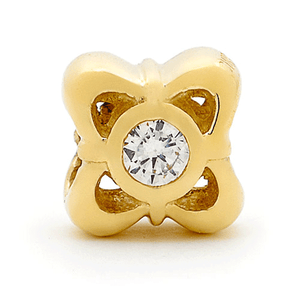 SURREAL 9ct Gold Surreal Flower Cubic Zirconia Bead