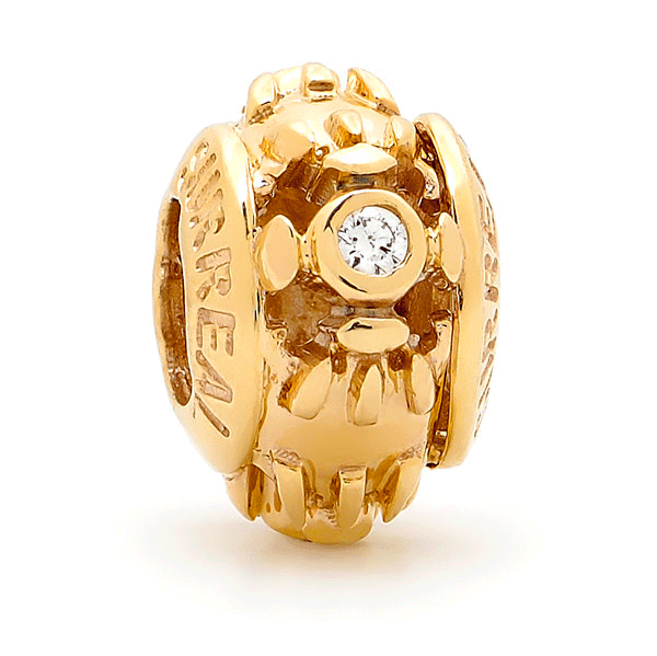 SURREAL 9ct Gold Trilogy With Cubic Zirconia Bead