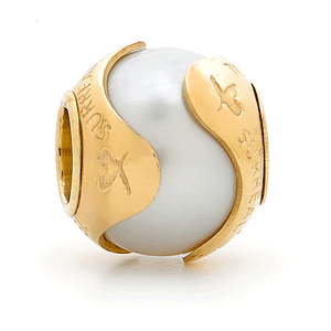 SURREAL 9ct Gold White Pearl In Otoman Bead