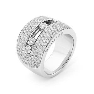 Slyde 18ct white gold extra large sliding diamond pave ring.