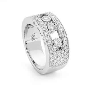 Slyde 18ct white gold medium sliding diamond 5 row pave ring.