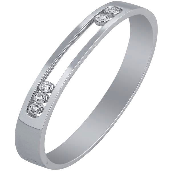 Slyde 18ct white gold sliding diamond plain squared bangle.