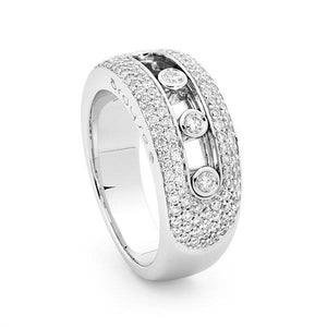 Slyde 18ct white gold small sliding diamond 7 row pave ring.