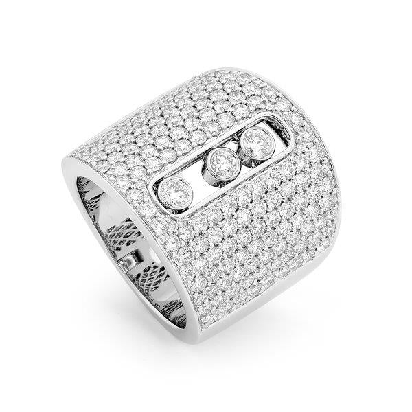 Slyde 18ct white gold very wide sliding diamond pave ring.