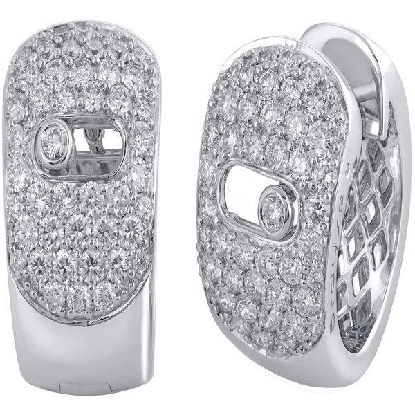 Slyde 18ct white gold wide sliding diamond pave earrings.