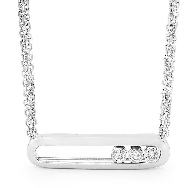 Slyde 9ct white gold large sliding diamond plain pendant.