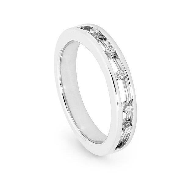 Slyde 9ct white gold narrow sliding diamond plain ring.