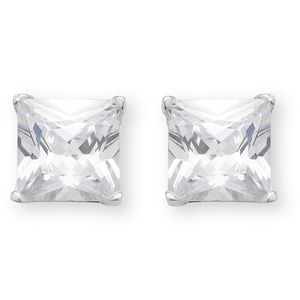 Sterling Silver Cubic Zirconia 7mm Princess Cut Stud Earrings