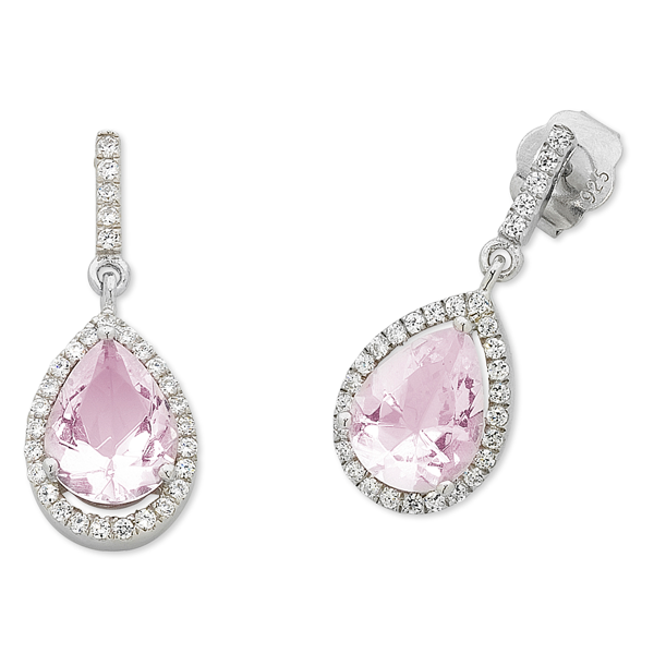 Sterling Silver Cubic Zirconia Pink Crystal Drop Earrings