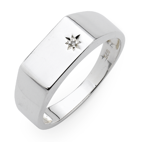 Sterling Silver Diamond Gents Ring