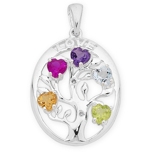 Sterling Silver Diamonds & Multi Colour Pendant