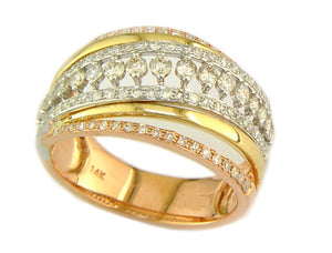 WHITE YELLOW & PINK GOLD DIAMOND RING