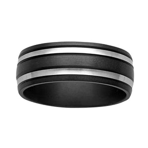 ZiRO Black & White Zirconium Ring