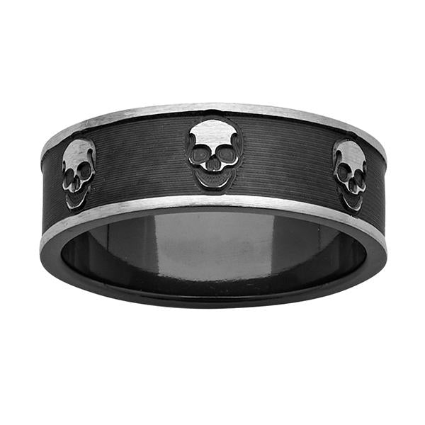 ZiRO Black and White Zirconium Skull Ring