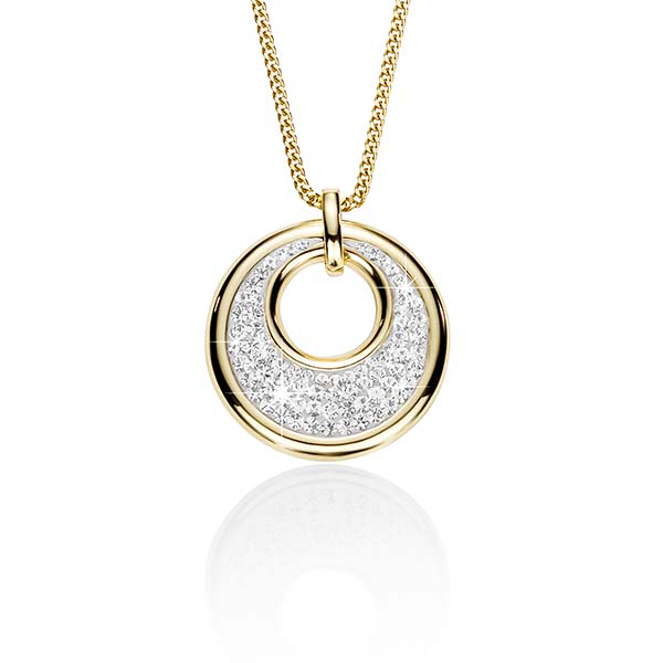 9ct Gold Bonded Silver Crystal Pendant