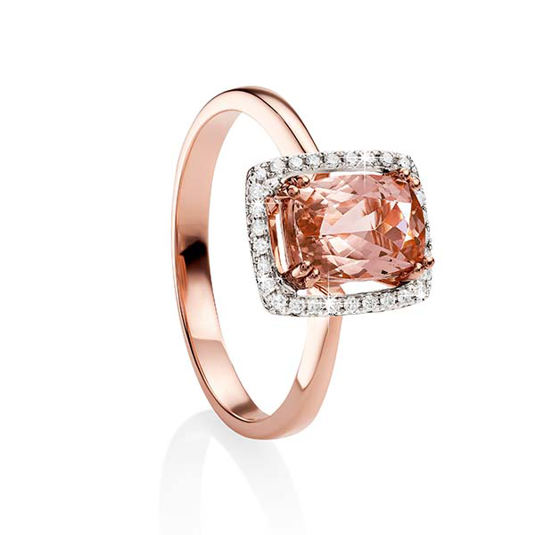 9ct Rose Gold Morganite and Diamond Ring