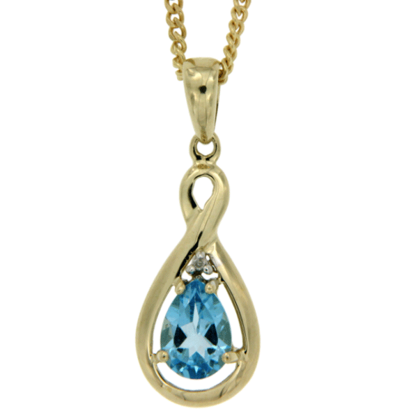 9ct gold blue topaz and diamond pendant