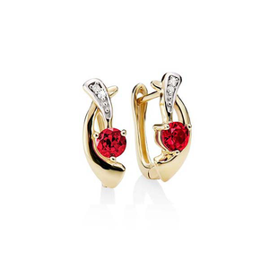 9ct gold created ruby and diamond earrings