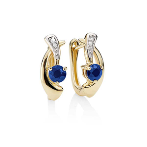 9ct gold sapphire and diamond earrings