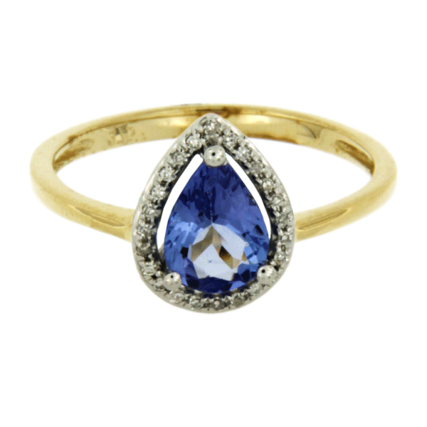9ct tanzanite & dia halo ring