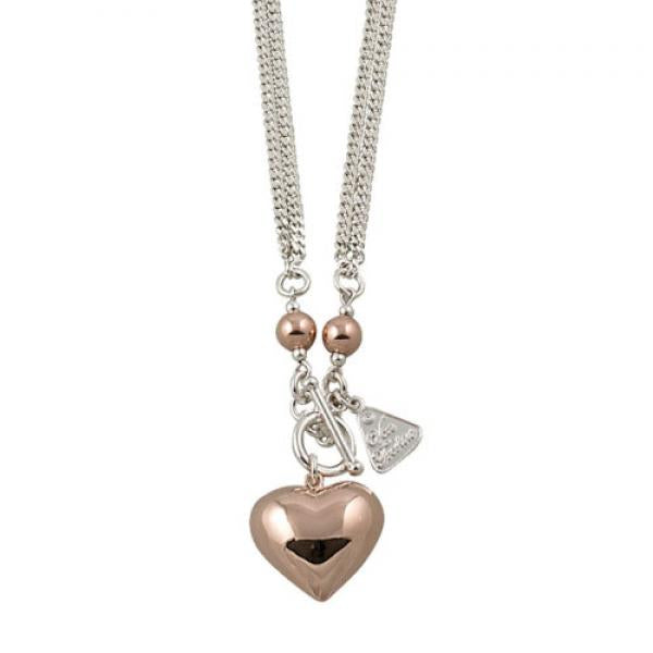 Von Treskow 2-Tone Puff Heart Necklace HNR1
