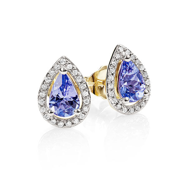 9Ct Gold Tanzanite & Diamond Studs