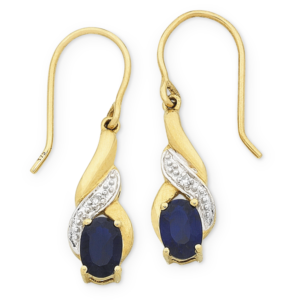 9ct Gold Created Sapphire & Diamond Earrings