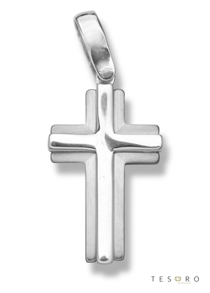 9ct white gold fancy cross-GV383