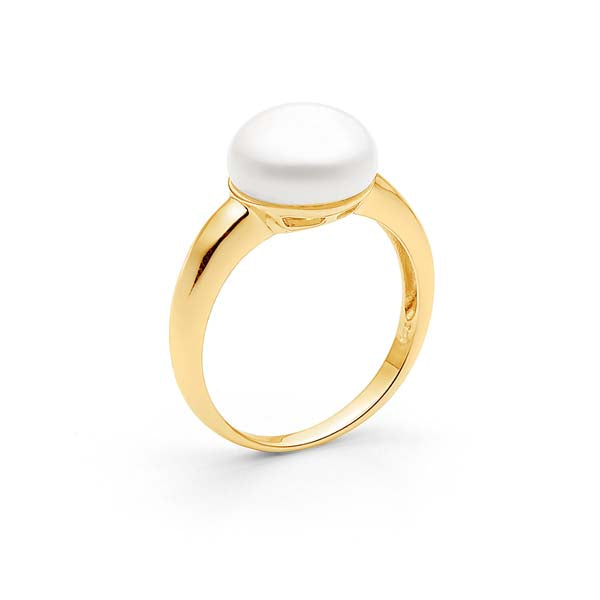Ikecho Freshwater Button Pearl Diamond Ring