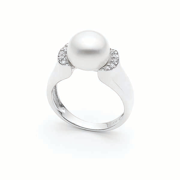 Ikecho Freshwater Pearl Cubic Zirconia Ring