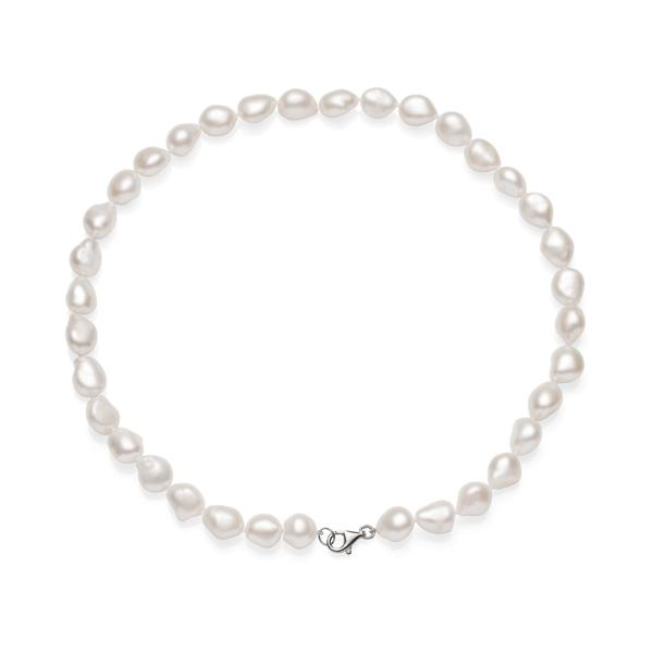 baroque rice pearl  sterling silver necklet