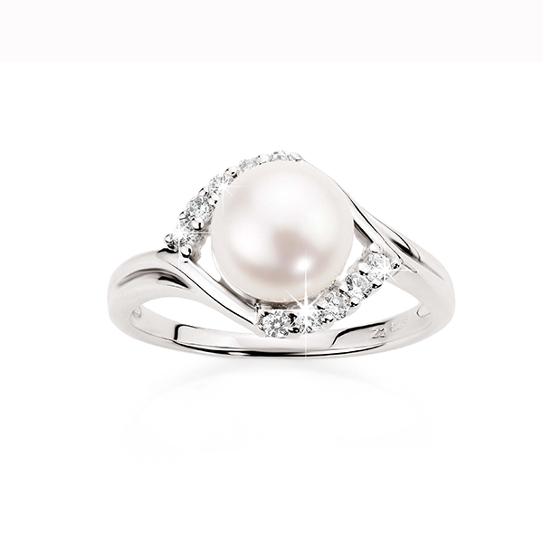 Sterling Silver Pearl & CZ Ring