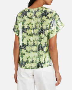 Floral Printed Sequin Top
